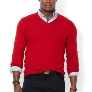 Polo Ralph Lauren red v neck wool sweater